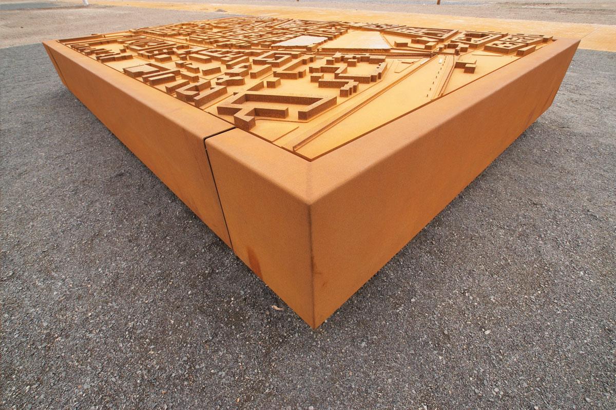 Stadtmodell aus Corten-Stahl, Foto: Christian Fittkau